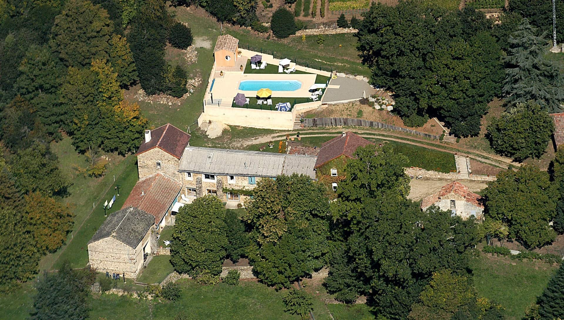 aerial view domaine de malouziès - character gites with swimming pool and charming bed and brekfasts near Carcassonne